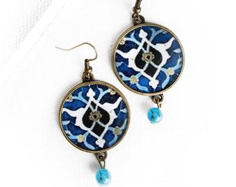 SORAYA earrings- Persian -Safavid - Persian tile design Earrings - Persian jewelry- Oriental