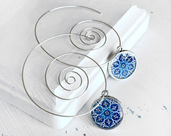 TARA spiral Earrings -  Persian tile design Earrings - Persian jewelry- Oriental