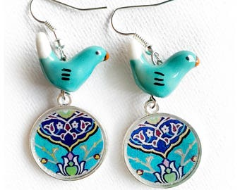 Beheshteh / Neeki two sided Persian tile design Earrings