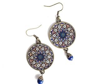 HOMA earrings- Persian -Safavid - Persian tile design Earrings - Persian jewelry- Oriental - Mandala