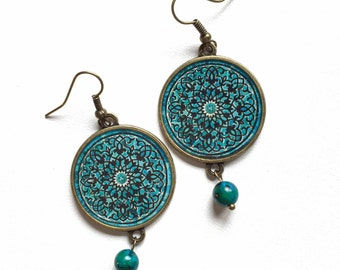 NIRVANA earrings - mandala pattern - Persian tile design Earrings - Persian jewelry- Oriental - turquoise
