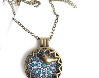 SOTOODEH Locket Necklace -  Persian tile design Earrings - Persian jewelry- Oriental - Mandala