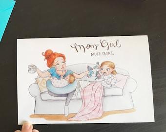 MomGirl: Multitasks   MomGirl Greeting Card with Teal Envelope