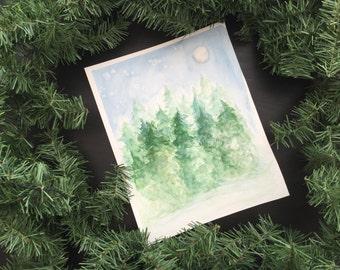 Winter Pines 8 x 10 Watercolor Print