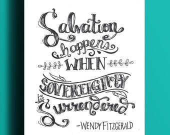 Salvation Happens Quote   Hand-Lettered Print   8x10