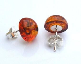 Amber studs earrings. 10 mm. Baltic amber. 925 Sterling Silver. Earrings. Baltic Amber Earrings. Amber jewelry. Amber earrings.Handmade item