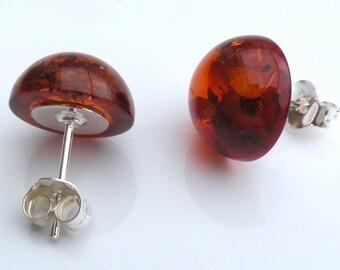 Amber studs earrings. 12 mm. Baltic amber. 925 Sterling Silver. Earrings. Baltic Amber Earrings. Amber jewelry. Amber earrings.Handmade item