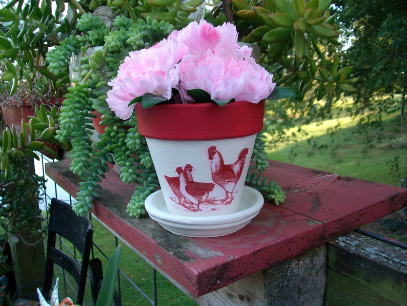 Red and White Flower Pot Barnyard Flock Red Rooster and Hens White and Crimson Red Hand Painted Flower Pot with Red Rooster and Hens