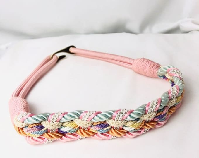 Vintage 80s Pastel Rope Braided Belt with Pearls