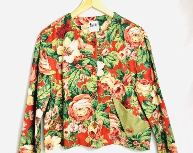 Vintage Red & Green Floral Jacket