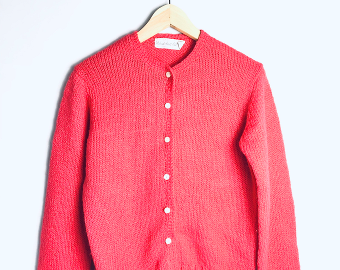 Vintage Hot Pink Acrylic Cardigan Sweater