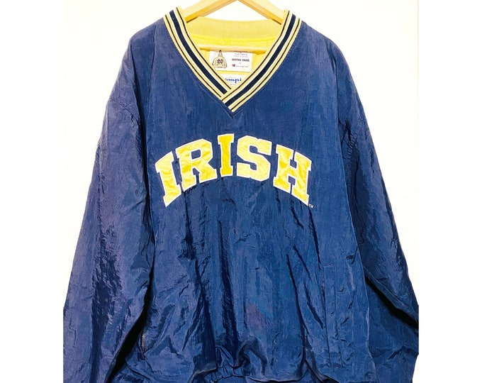 Vintage 90s notre dame windbreaker pullover xl