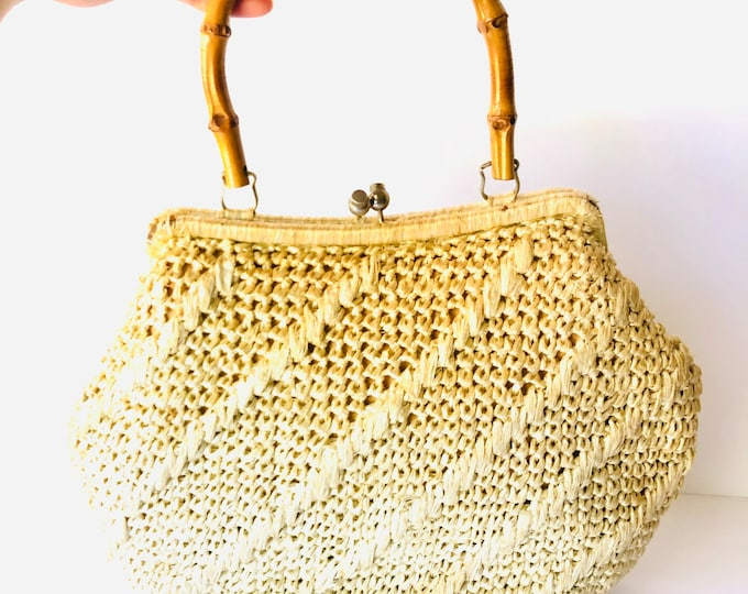 Vintage Tan Straw 70s Handbag w/ Bamboo Handle