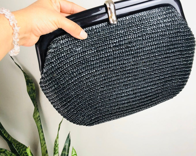 Vintage Navy Straw and Plastic Clutch