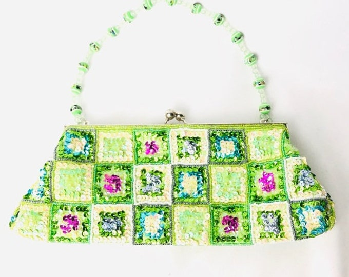 Green Beaded and Sequin Small Handbag 2000s/90s