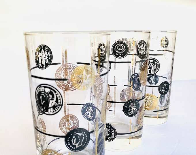 Vintage Mid Century World Coins Glass Cups