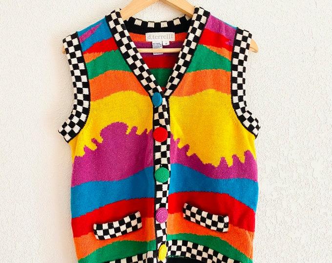 Vintage 80s 90s Sweater Vest Colorful Pattern // Colorful Ramie Vest // Cotton Cardigan