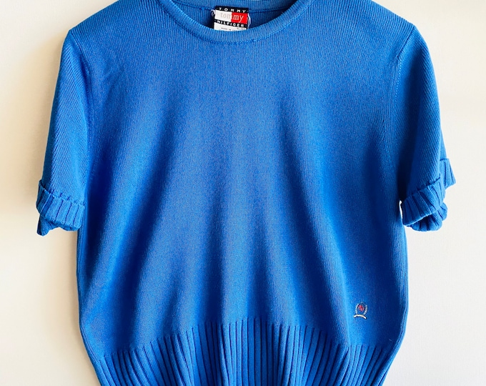 Vintage 90s Tommy Hilfiger Blue Knit Short Sleeve Sweater