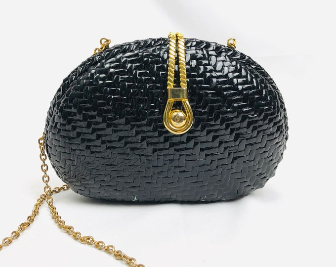 Vintage 90 Plastic Black & Gold Wicker Style Purse