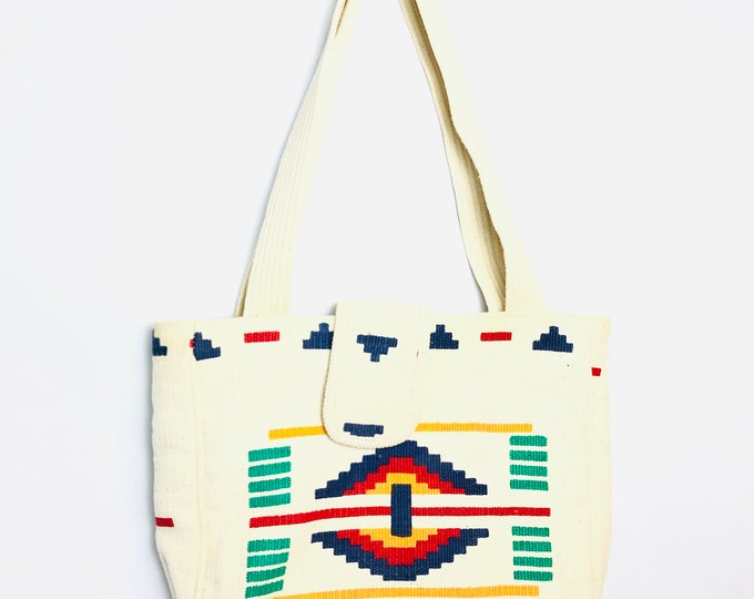 Vintage Tan Canvas Southwestern Colorful Pattern Colorful Tote Bag