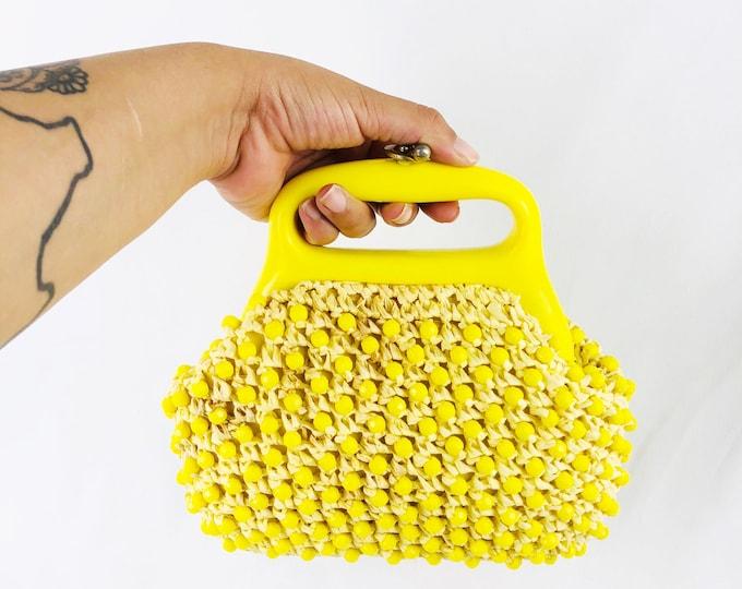 Vintage Beaded Small Handbag// Vintage Beaded Yellow Purse // Beaded Bag // Mini Purse