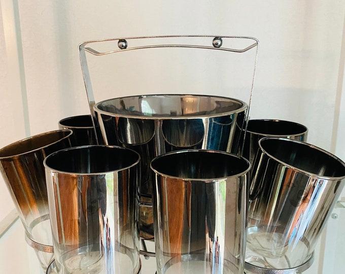 Vintage Mercury Silver Fade Tumblers HighBall Glasses Ice Bucket Caddy  Chrome Set Mid Century Modern