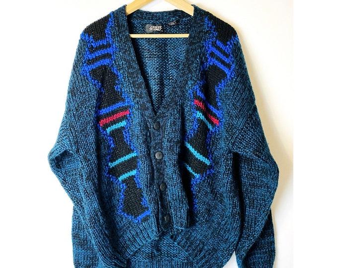 Vintage Acrylic Blue Chunky Geometric Cardigan /90s 80s Sweater