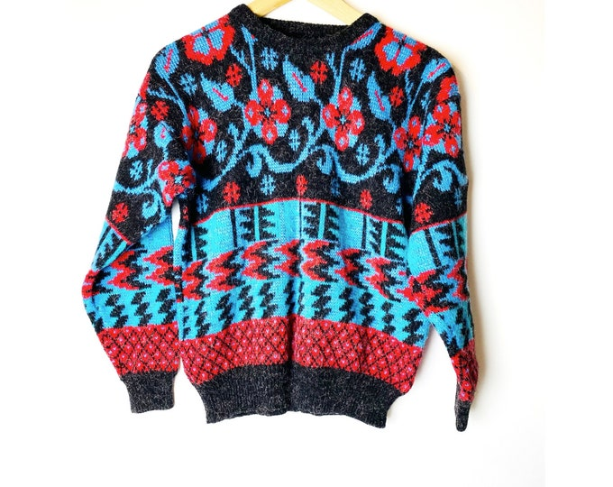 Vintage Acrylic Geometric Pattern Sweater