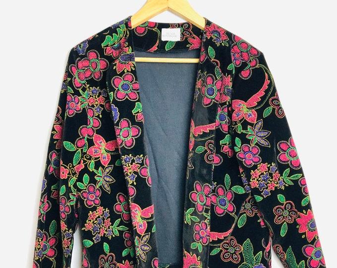 Vintage 80s Blair Bright Flower Black Jacet