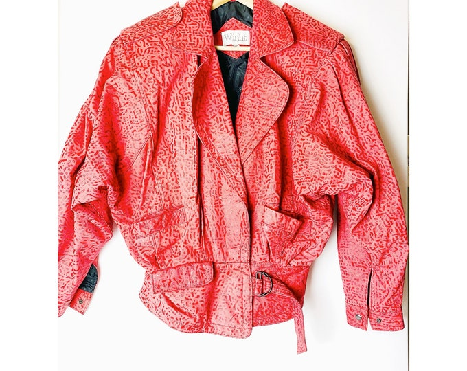 Vintage Winlit 80s Red Leather Jacket Unique Pattern