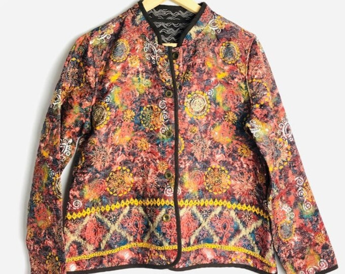 90's Quilted Tapestry Jacket in Large Small or Medium 90s Bohemian Reversible Cardigan