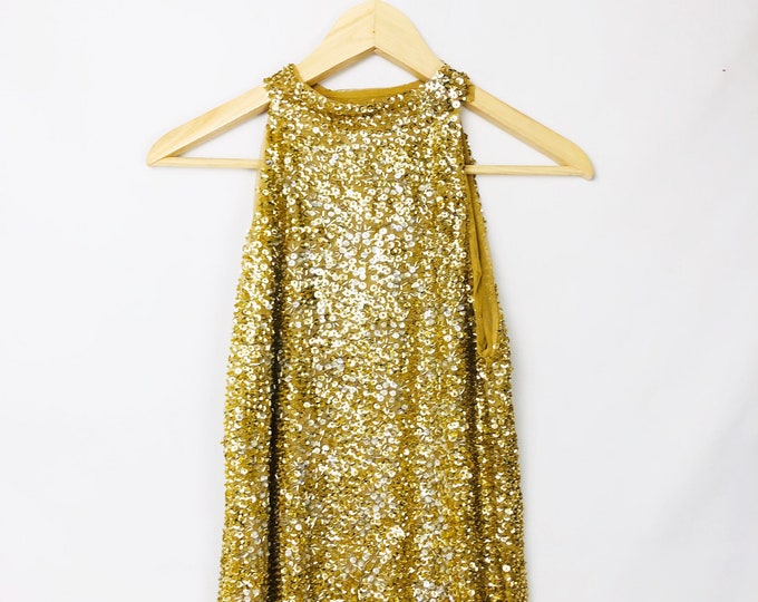Vintage Gold Sequin Sleeveless Blouse // Vintage Gold Beaded Top