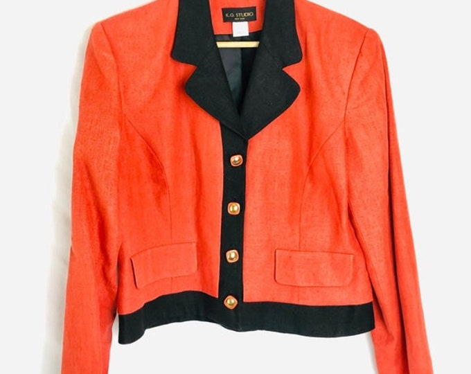Fun Orange & Black Color Block Vintage Mod Blazer