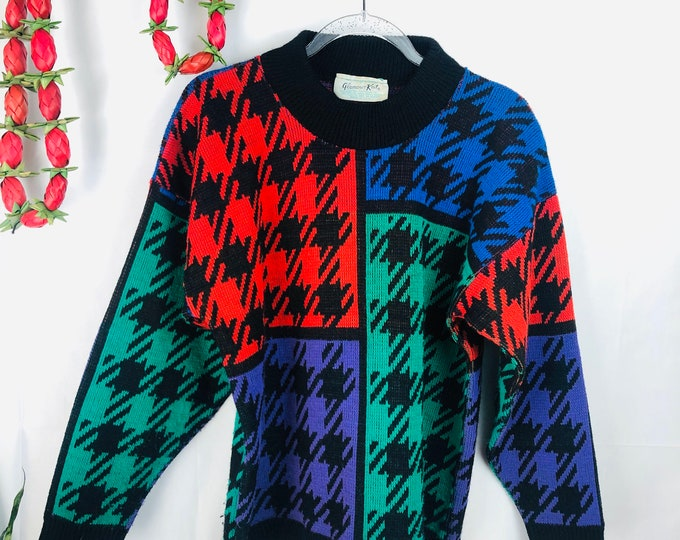 Vintage 80's Multi Colored Houndstooth Patterned Sweater