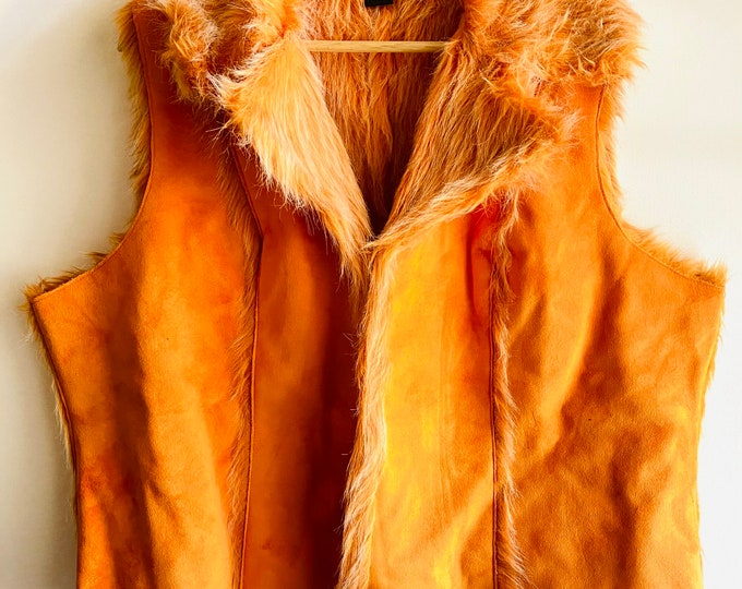 Vintage Y2k Orange Leather & faux fur Vest