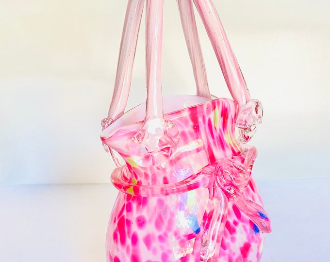 Vintage Pink Multi Color Glass HandBlown Handbag