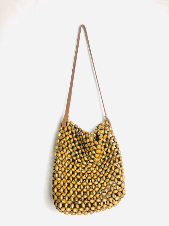 Vintage 90's Wood Beaded Tote Bag w/ Leather Strap