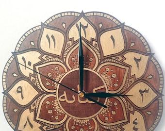 CUSTOM WRITING wooden Mandala clock, many COLORS, 24cm and 41cm - arabic style - boho clock etnic clock wall clock moroccan modern unique