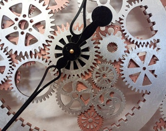 90 cm (35.43 in) wall clock industrial, steampunk style, gears, wooden clock - different colors, rusty, golden, black, silver, custom colors