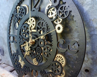 40cm (15.74 in) wall clock industrial, steampunk style, gears, wooden clock - different colors, golden, black, silver