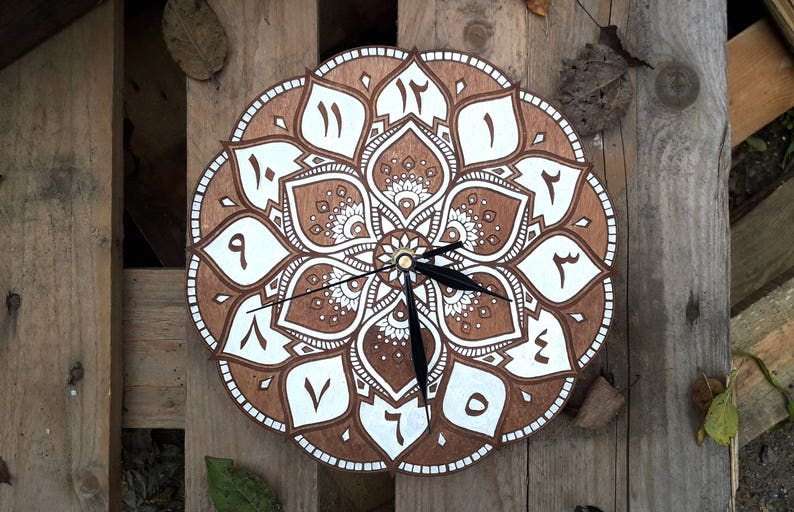 Mandala clock 9.45 inch and 16 inch  arabic style wooden image 0