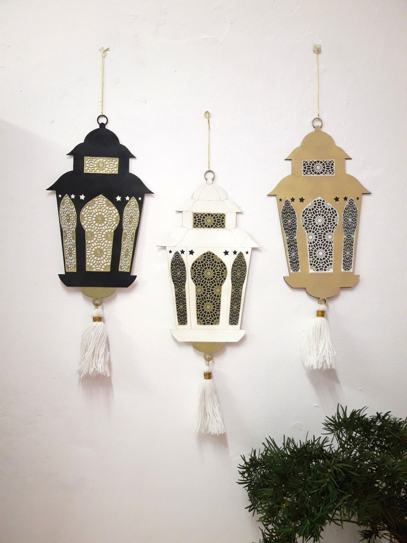 Ramadan hanging ornaments lantern from wood decoration on image 0