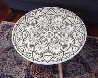 White coffe table with mandala - 18 patterns! - 60cm, engraved, oriental arabic moroccan boho skandinavian.