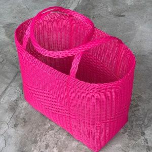 Bubble Gum Pink Beach Woven Guatemalan Plastic Market Basket Strong Resistant Bag Bright Colors