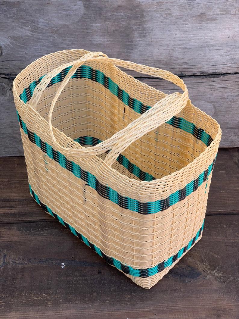 Woven Guatemalan Multicolor Cream Plastic Market Basket Strong image 0