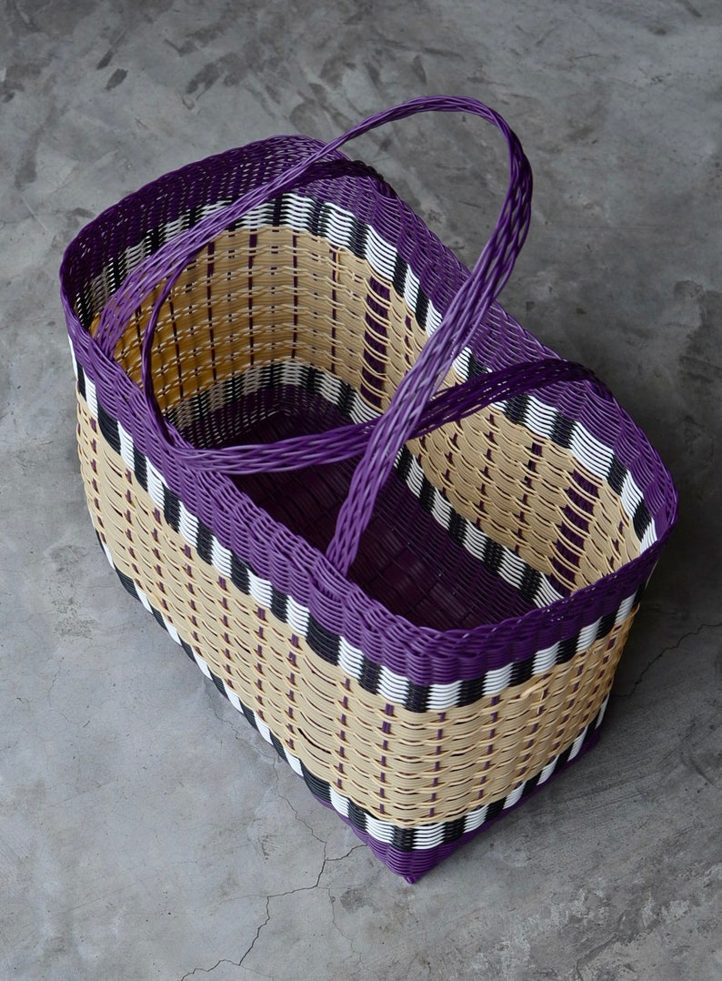 Woven Guatemalan Purple and Cream Plastic Market Basket Strong Resistant Bag Bright Colors