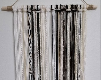 Tapestry, Bohemian Yarn Tapestry, Yarn Wall Hanging, Cream, White, Black and Gold