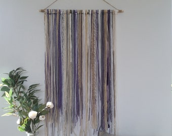 Yarn Wall Hanging, Yarn Tapestry, Violet, Purple, Light Gray, Cream, Beige, Gold and White