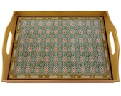 Vintage ottoman tray - Oriental Blue Cross - Rectangular Hand Painted Glass Tray with Gold Aluminium Frame