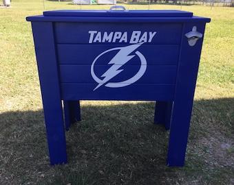 Tampa Bay Lightning wood cooler stand